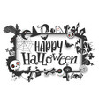 happy halloween banner with cartoon frame vector image
