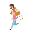 happy wealthy guy carrying sack full money vector image vector image