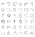 hard business icons set outline style vector image vector image