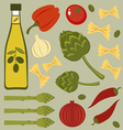Italian food ingredients vector image vector image