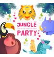 jungle party cute exotic animals design children vector image