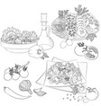 line art various salads vector image