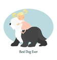 Little girl and big best dog Friendship vector image
