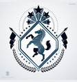 luxury heraldic emblem template made using horse vector image vector image