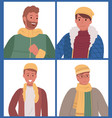 men posing in warm clothes set four pictures vector image vector image