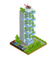 modern ecologic skyscraper with many trees on vector image