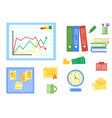 modern flat icons collection in stylish vector image vector image
