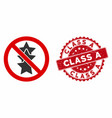 no rating stars icon with grunge class a seal vector image vector image