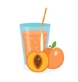 Peach juice in a glass Fresh isolated on white vector image