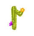 r letter in the form of cactus with blooming vector image vector image