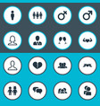 set of simple icons elements mister barrister vector image vector image