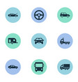 set simple automobile icons vector image