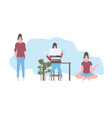 set woman in different poses stay home coronavirus vector image