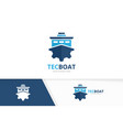 ship and gear logo combination boat and vector image