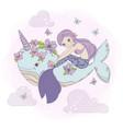 sky mermaid sea princess dream cartoon illu vector image