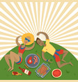 summer picnic family in park on meadow vector image