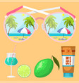 summer time beach sea shore realistic accessory vector image