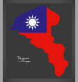 taoyuan taiwan map with taiwanese national flag vector image vector image