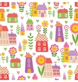 the pattern houses and plants vector image vector image