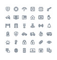 thin line icons set with security cyber vector image vector image