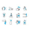 water and hand hygiene icon set half color half vector image vector image