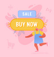 woman running near huge buy now button vector image