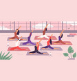 women yoga group stretching exercise vector image