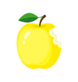 yellow bitten apple isolated vector image vector image
