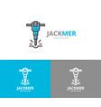 jackhammer and construction logo design vector image