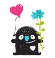 Funny Monster with Flowers and Heart Balloon vector image