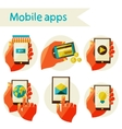 set mobile icons vector image