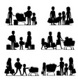 black silhouettes of people groups doing shopping vector image