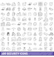 100 security icons set outline style vector image vector image