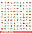 100 town icons set cartoon style vector image vector image