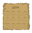 aged scroll calendar 2014 vector image vector image