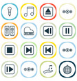 audio icons set collection of song ui octave vector image vector image