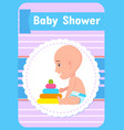 bashower greeting card infant in diaper vector image vector image
