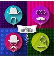 Birthday card Colorful baloons in flat design vector image vector image
