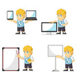 Blonde Rich Boy Customizable Mascot 20 vector image vector image