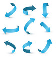 blue ribbon arrow set arrow stickerst various vector image vector image
