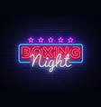 boxing night neon sign design template vector image vector image