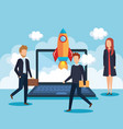 business people with laptop vector image vector image