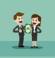 businessman and businesswoman hold money in his vector image vector image