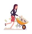 Businesswoman pushing a wheelbarrow full of money vector image vector image