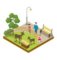 cage with deers isometric 3d icon vector image vector image