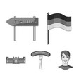 country germany monochrome icons in set collection vector image vector image