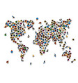 crowd of people in the form of world map vector image vector image