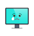Crying face on computer screen emoticon