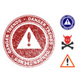 danger trends warning seal with scratched texture vector image vector image
