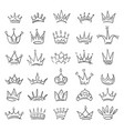 doodle sketch crowns collection vector image vector image
